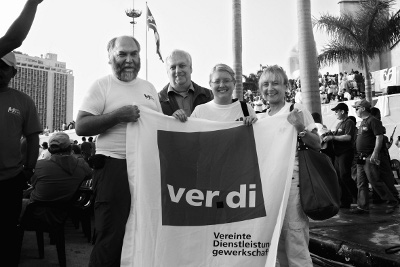 Ver.di-Delegation auf der  Demonstration am 1. Mai in Havanna